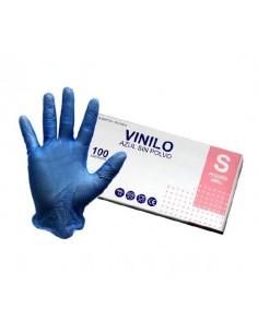 GUANTE VINILO1 PEQUEÑO AZUL P/100